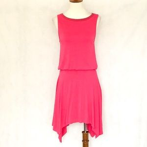 Ella Moss Sleeveless Pink Handkerchief Hem Dress